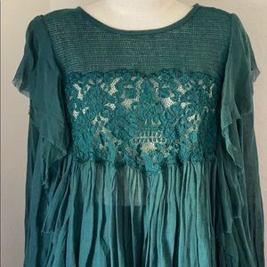Free People Blouse Green Hunter NWT